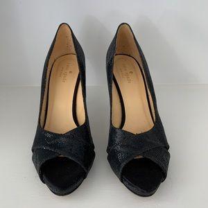 Kate Spade black sparkle heels